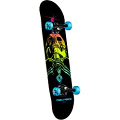 Buy Powell-Peralta Blacklight Skull and Sword Complete Skateboard, Blue by Powell-Peralta