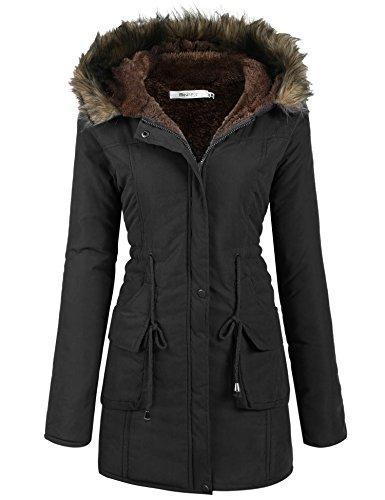 Meaneor Women's Hooded Warm Winter Faux Fur Lined Parkas Long Coats, Black, M (Women Coat Hooded compare prices)