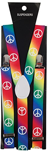 Star Power Peace Sign Hippie Rainbow Suspenders One Size