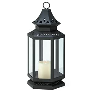 Gifts & Decor Large Black Stagecoach Hanging Lantern Candle Holder