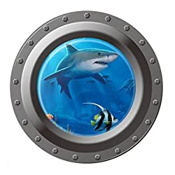 ETGtek 1pcs 3D Ocean View Underwater Shark Window Wall Sticker Decals For Kids Rooms Sea Portal Peel Kids Wall Art