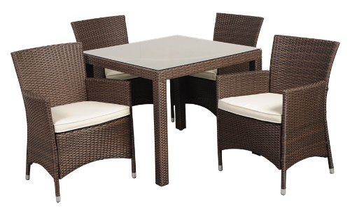Atlantic 5-Piece Grand New Liberty Deluxe Square Wicker Dining Set, Brown with Off-White Cushions photo