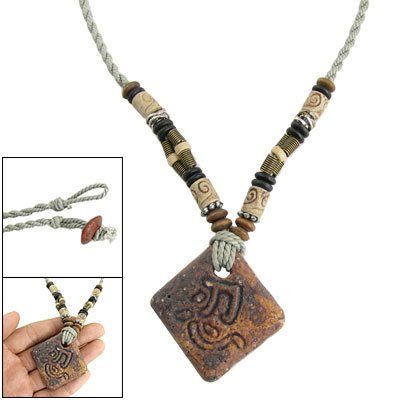 Rosallini Carved Cylinder Beads Stone National Style Necklace