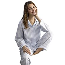 The Irish Linen Store Womens Amelie Cotton Striped Pajamas Blue and White