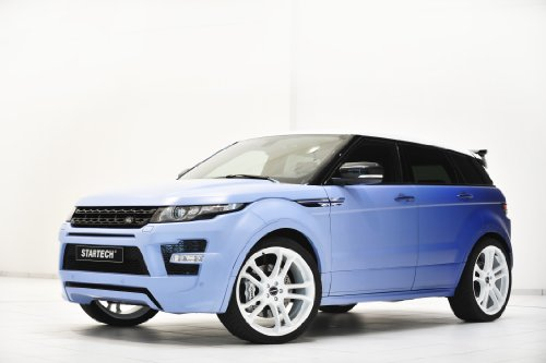 """Land Rover Range Rover Evoque Si4 Lpg By Startech (2013) Car Art Poster Print On 10 Mil Archival Satin Paper Blue Front Side Static View 20""""X15"""""""