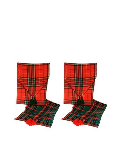 Uptown Down Set of 4 Table Runners, Red/Green