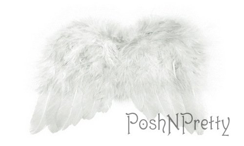 Natural Feather Angel Butterfly Wings, Newborn, Baby, Photo prop- Color: White