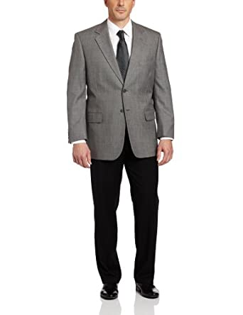 Bert Pulitzer Men's Big Sharkskin Suit Separate Jacket,  Grey, 48 R