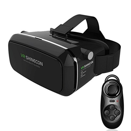 LUCINE-9764554-3D-VR-Virtual-Reality-Glasses-Headset-Suitable-for-Google-iPhone-Samsung-Note-LG-Huawei-HTC-Smartphone-for-3D-Movies-and-Games-with-Remote-Controller-Black