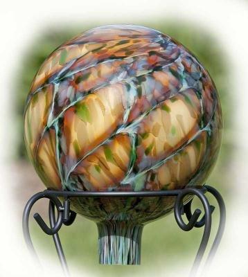 Marble Glass Sepia Blue Gazing Ball by BirdBrain