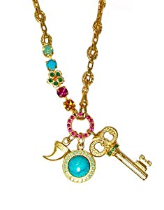 """Mariana """"Happy Days"""" Yellow Gold Plated Medallion, Horn and Key Charm"""