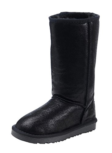 Milanao Women Winter Knee-High Leather Charming Metal Color Snow Boots(7.5 B(M)Us,Black)
