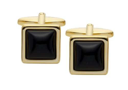 Code Red Gold Plated Square Onyx Cufflinks