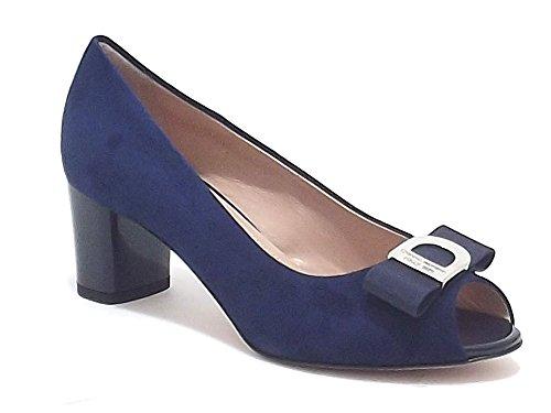 Donna Serena scarpe donna, modello 5974, decoltè spuntato in camoscio, colore blu, tacco medio