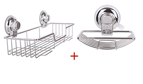 ARCCI Bathroom Suction Shower Caddy with Soap Box, SS Rustproof Kitchen Bathroom Storage Basket Shelf for Shampoo Organiser Soap Holder