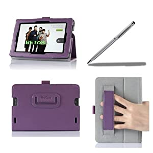 ProCase All New Kindle Fire HD 7 Case with bonus stylus pen - Flip Stand Leather Folio Cover for All New Kindle Fire HD 7 inch Tablet (will only fit New Kindle Fire HD 7 2013 released, 2nd Gen HD 7) (Purple)