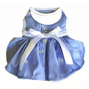Soft Blue Denim and Daisy Dog Harness Dress MEDIUM