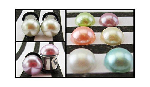 Pastel Pearls wedding stainless steel fancy pretty EAR PLUG earrings you pick gauge and colors 8g, 6g, 4g, 2g, 0g aka 3, 4mm, 5mm, 6mm, 8mm (2g Fancy Plugs compare prices)