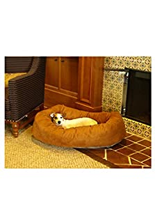 Majestic Pet 40-Inch Suede Bagel Dog Bed, Rust