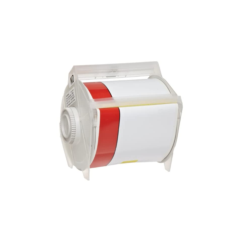 Brady 113161 GlobalMark 100 Length x 4 with 1 stripe, B 595 Vinyl, White and Red Indoor/Outdoor Industrial Label Maker Tape