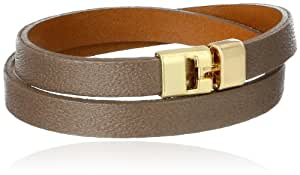 "Leighelena T-Bar Taupe Double Wrap Bracelet, 13.75"""