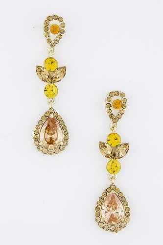 Karmas Canvas Jewel Droplet Earrings (Topaz) front-173533