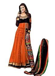 Jini Fashion Women's Net Anarkali Suit Dress Material (NK1922_Orange)