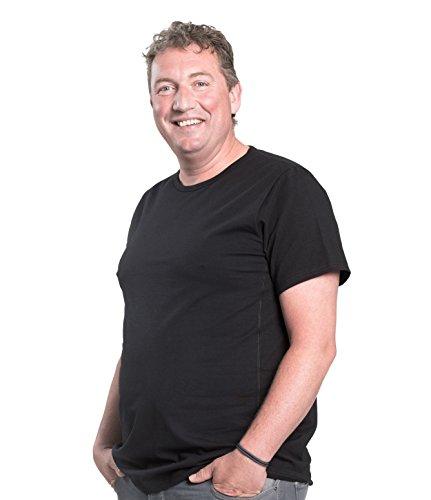 Maglietta per uomo girocollo, pacco da 2, T-Shirt collo rotondo, 1XL-8XL, 2 pack T-shirt appositamente progettato per gli uomini oversize | Mezzo 112-178 cm (8XL-B, Nero)