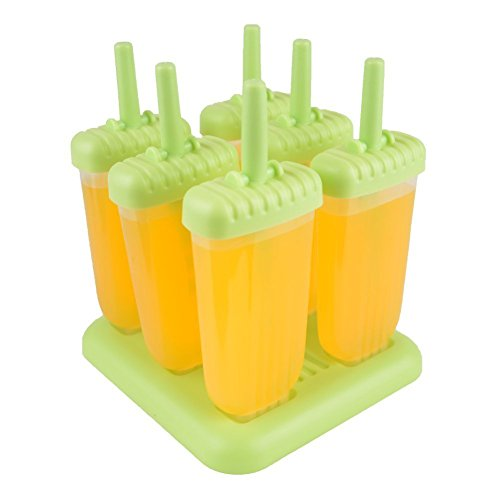Classic Repeated Use Popsicle Molds Ice Pop Molds BPA Free, Oval, Set of 6 (Green) (Commercial Ice Pop Molds compare prices)