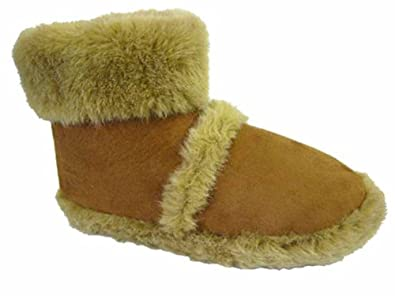 MENS COOLERS SLIPPERS WITH FUR CUFF (Large UK 11-12, Tan)
