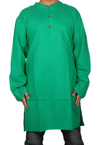 Indian Casual Wear Cotton Yoga Mens Long Kurta Size-M