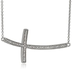 """Sterling Silver Diamond-Accented Cross Pendant Necklace (0.05 cttw, I-J Color, I2-I3 Clarity), 17"""" by Verigold Jewelry"""