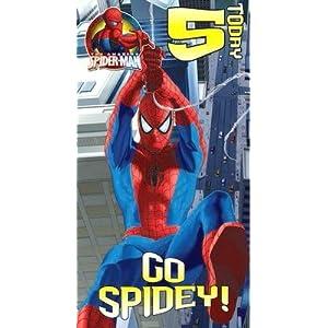 Spiderman Birthday Card Age 5 size 125 x 234mm: Amazon.