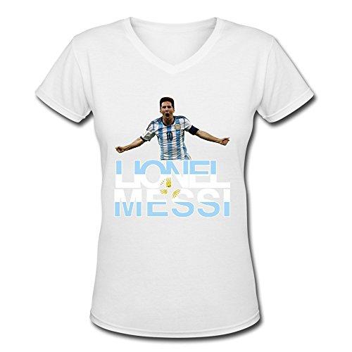 AOPO Lionel Messi FIFA Ballon D'Or V-Neck Short Sleeve T Shirt For Women