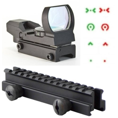 """Ultimate Arms Gear Qd Tactical 1"""" Weaver-Picatinny High See Thru Stanag Riser Mount For Ar15 M4 Flattop Rifle Scope + Cqb 4 Multi Reticle Dual Red / Green Extreme Ops Edition Open Reflex Sight With Weaver-Picatinny Rail Mount - Combo Combination Package K"""