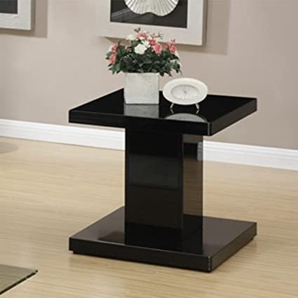 Modern Coffee Table w/ Swivel Glass Tabletop Shelf or End Snack Side Table Black (End Table)
