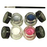4 Starry Long Lasting Waterproof Eyeliner Gel Snow, Heavenly Pink, Midnight Sky,Shimmer Stone