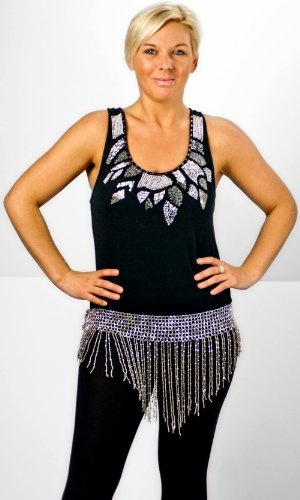 Belly Dance Hip Scarf - Silver Coins
