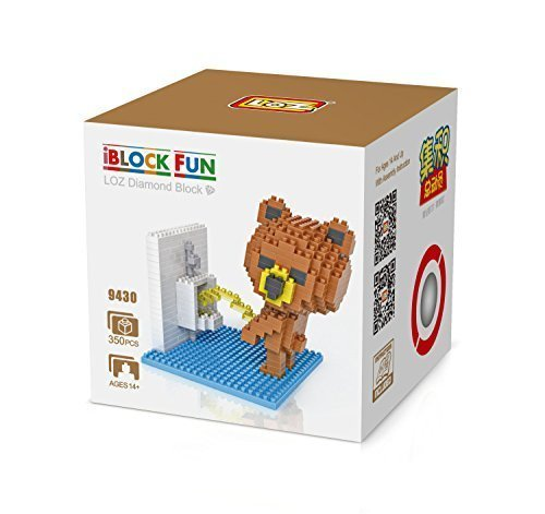 GRHOSE LOZ Diamond Blocks Nanoblock Brown Bear Peeing Educational Toy 350pcs - 1