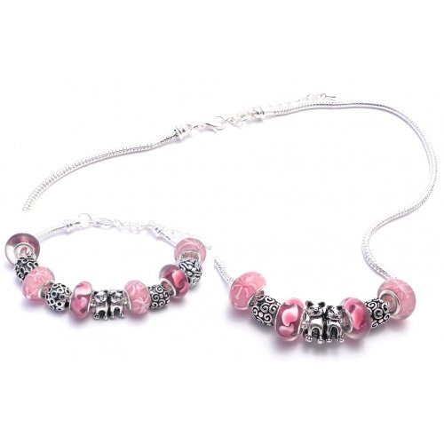 Cat Charm Bracelet And Necklace Gift Set Women'S Pandora Style