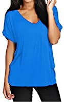 Meaneor Women's Baggy Fit V Neck Turn Up Loose Batwing Oversized Tee Size 8-26
