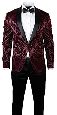 Warthel mens slim fit burgundy black suit tuxedo satin for Black suit burgundy shirt