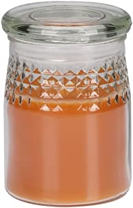 Energizer TJS1DL106 LED Flameless Wax Glass Jar, Realistic Flame Pumpkin Orange and Spice Scent with Timer