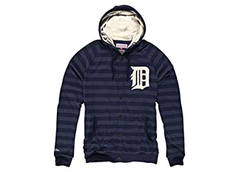 Detroit Tigers Mitchell & Ness Striped Button Front Hoody by Mitchell & Ness