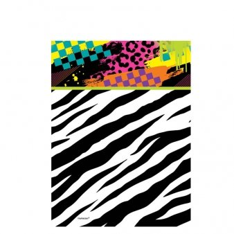 Totally 80s Tablecover - Plastic (wipeable). Features a funky design straight out of the eighties!