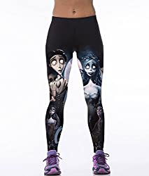 iSweven corpse bride Design Printed Polyester Multicolor Yoga pant Tight legging for womens girls