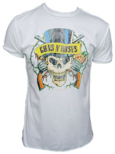 Amplified Herren T-shirt Weiss Official Guns n Roses Pirat Skull Tattoo Vintage bianco 54