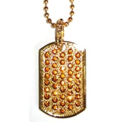 Hip Hop Iced Out Diamond Gold Dog Tag Pendant Chain Necklace (Yellow Stones)