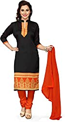 Fashion Galleria Women's Poly Cotton Printed Unstitched Regular Wear Dress Material (SKY_505_Black)