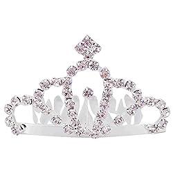 Aaishwarya Glittering Stone Studded Princess Tiara Small Size Hair Comb For Women/Girls